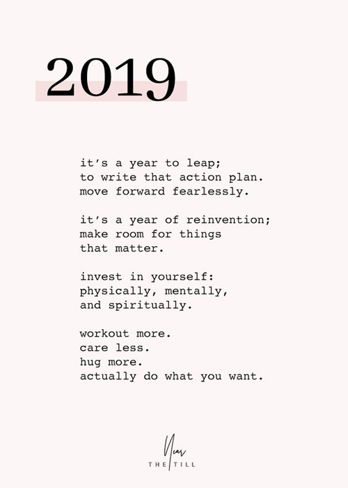 2019 New Year Quote Words of Encouragement Self Care Love