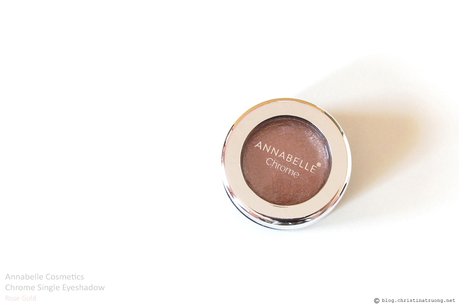Annabelle Cosmetics Chrome Single Eyeshadow Review and Swatch in Rose Gold