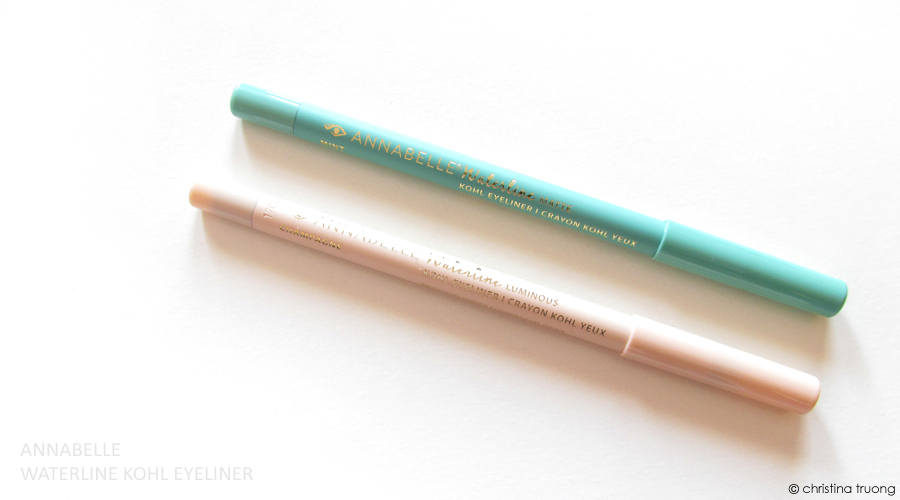 Annabelle Cosmetics Waterline Kohl Eyeliner Review featuring Waterline Luminous Kohl Eyeliner in Champagne and Waterline Matte Kohl Eyeliner in Mint
