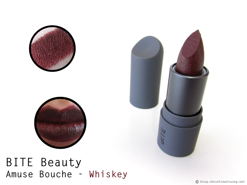 BITE Beauty Amuse Bouche Lipstick in Whiskey first impression review and swatches.
