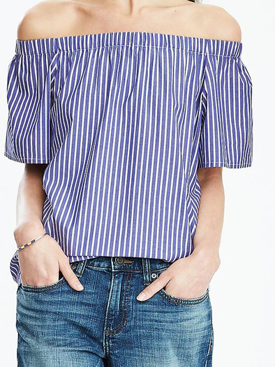 Banana Republic Off-Shoulder Stripe Top. Favourite off the shoulder fashion style