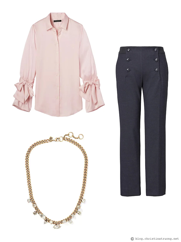 Outfit on a Budget Shop the Sale Winter 2018 outfits for under $200 from Banana Republic Dillon-Fit Tie-Sleeve Shirt. Logan Trouser-Fit Cropped Sailor Pant. Sparkle Chain Focal Necklace