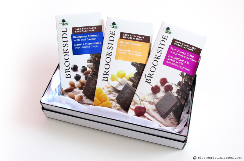 Brookside Chocolate Tablet Bars Review Blueberry Almond with acai flavour Mango Coconut Crisp Tart Cherry Crisp with pomegranate flavour