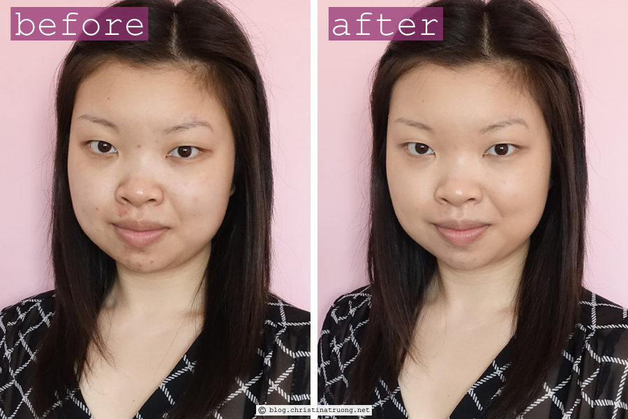 Burt's Bees Goodness Glows Liquid Makeup Foundation in 1025 Natural Beige Review Before After Application