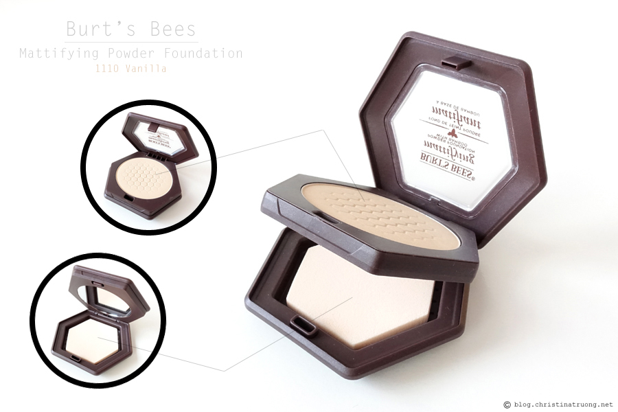 Burt's Bees Beauty Mattifying Powder Foundation Review Swatch in 1110 Vanilla.