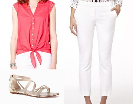 Celebrate Canada Day Fashion Style RW&Co Front-Tie Blouse with Crochet Details, Modern Chich 7/8 Slim Leg Pant, Flat Braided Sandal