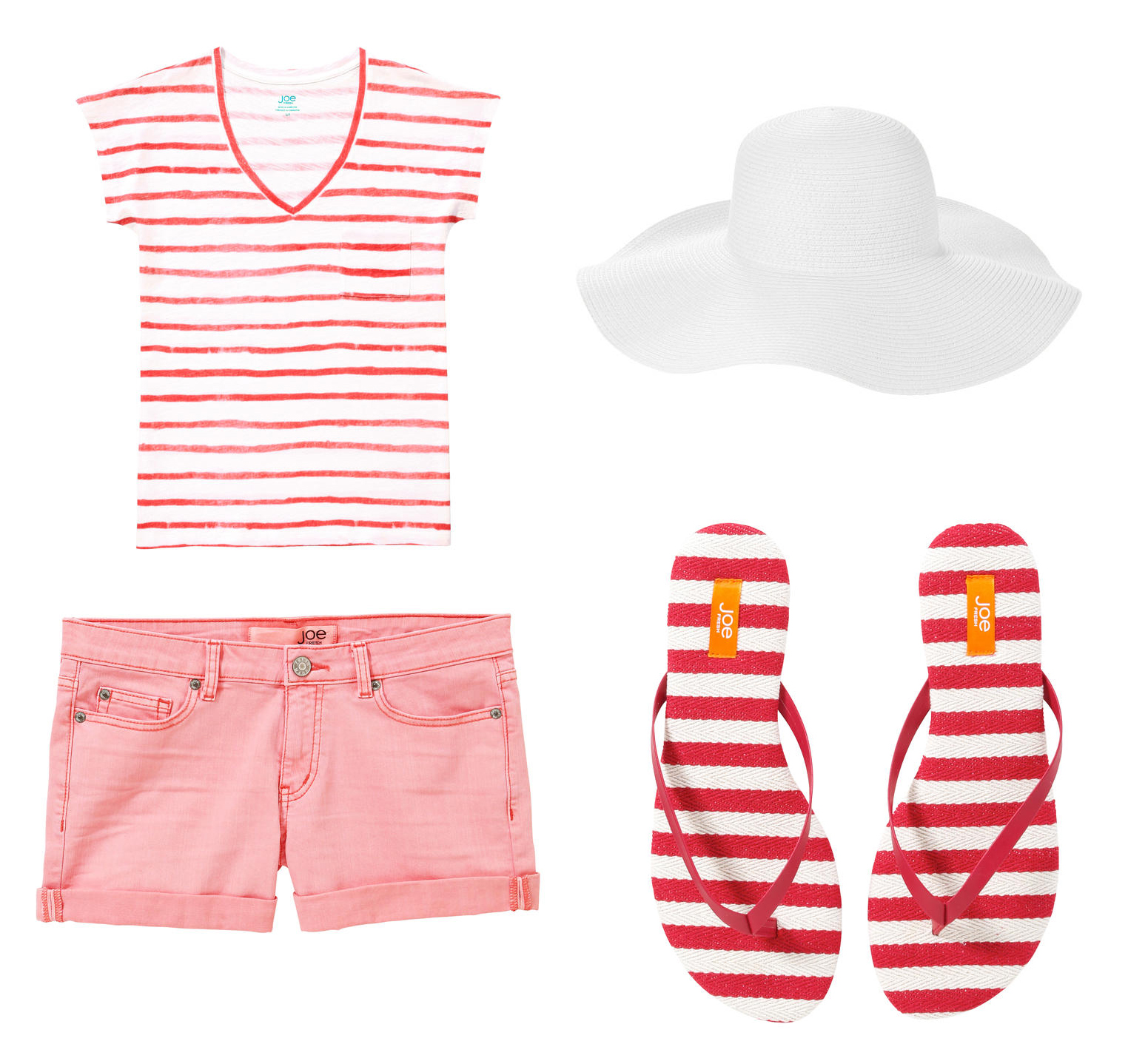 Celebrate Canada Day Fashion Style Joe Fresh Painted Stripe Tee, Straw Sunhat, Colour Denim Short, Stripe Flip Flops