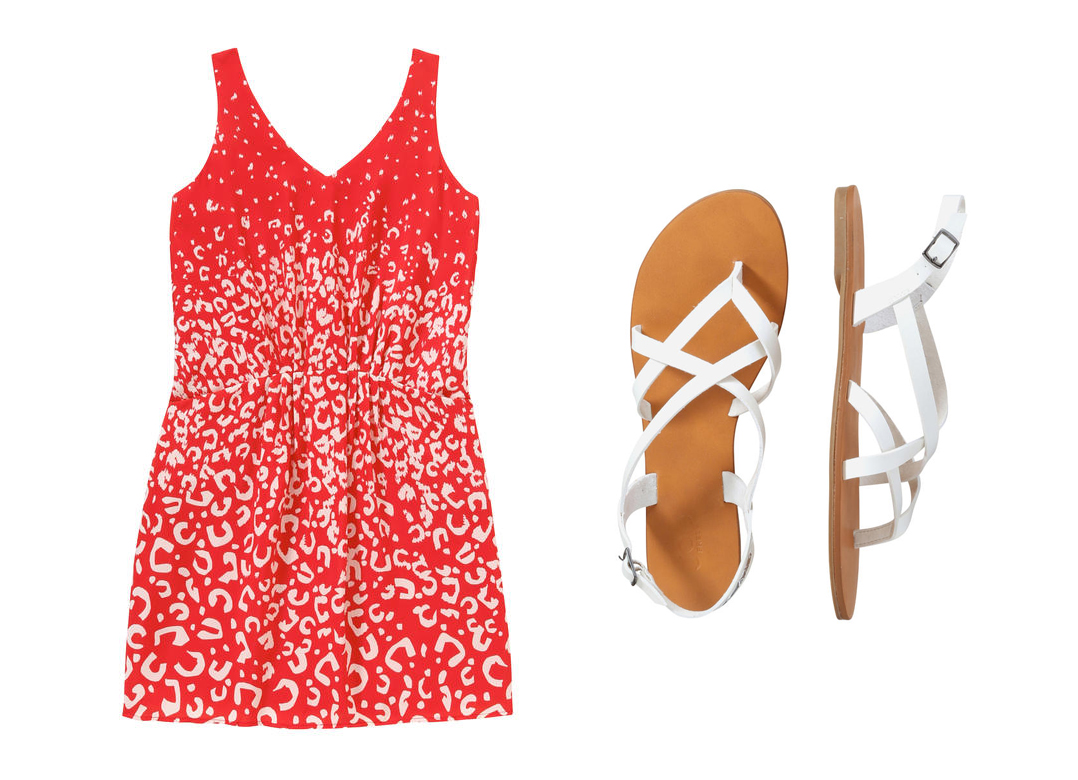 Celebrate Canada Day Fashion Style Joe Fresh V-Neck Print Dress, Crisscross Sandal