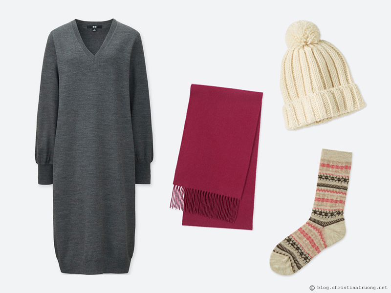 Dressing for the Holidays in the spirit of Relaxing Lounging featuring UNIQLO Uniqlo Women Merino Blend V Neck Dress 05 Gray, Uniqlo Women Knitted Beanie 00 White, Uniqlo Cashmere Scarf 18 Wine, Uniqlo Women Heattech Socks 2P Fairisle 32 Beige