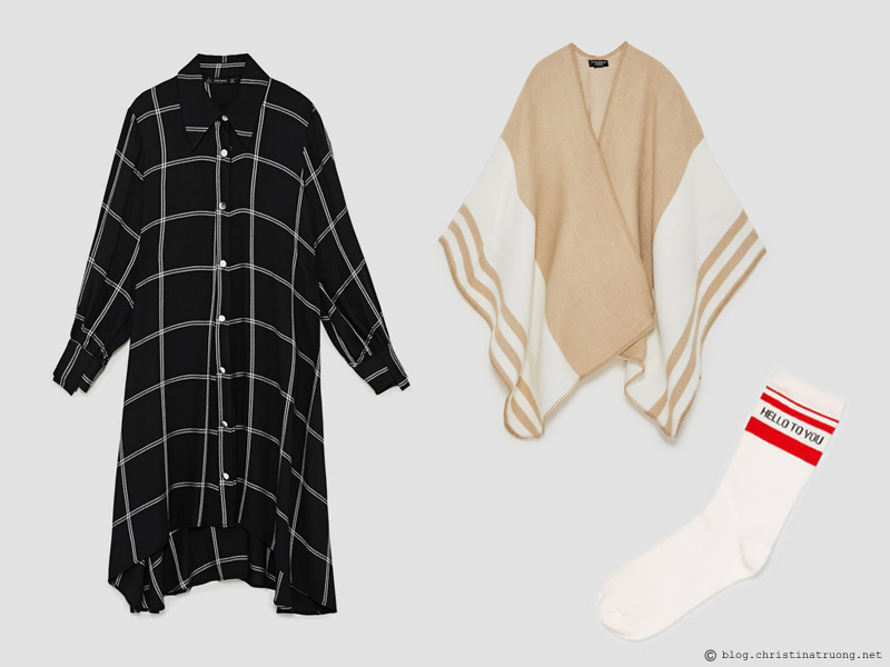 Dressing for the Holidays in the spirit of Relaxing Lounging featuring ZARA Zara Checked Shirt Dress Black White, Zara Striped Poncho Camel, Zara 2 Pack of Slogan Socks