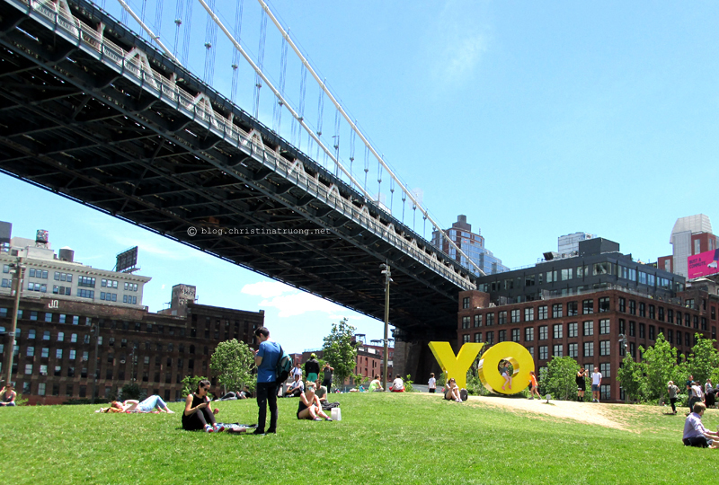 Christina Truong Blog. Touring New York City Photography Brooklyn Bridge Park YO Sign