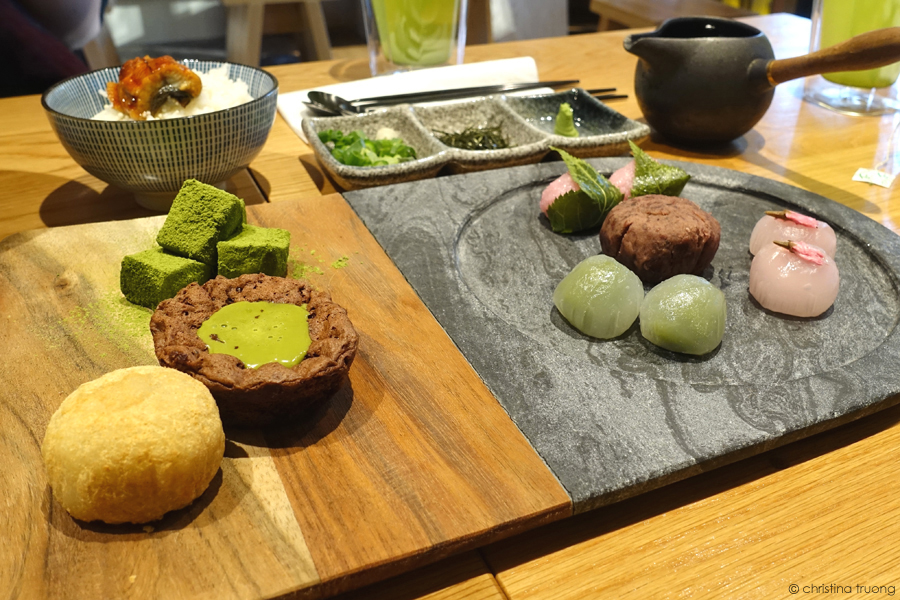 Food From the Lens: TSUJIRI Soba Bar North York Toronto. Christina Truong Photography Desserts Food Spread Eats Japanese High Tea - Aoi Hana. Matcha Warabimochi. Brownie with Matcha Sauce. Red Bean Mochi. Sakura Mochi. Sakura Sakura. Matcha Mochi. Ohagi