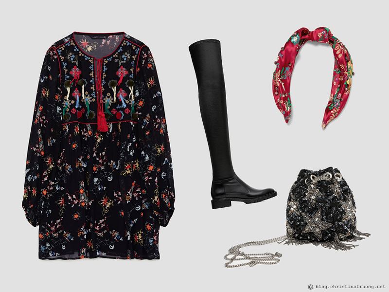 Dressing for the Holidays in the spirit of Christmas featuring ZARA Zara Embroidered Dress with Pompoms Black, Zara Jacquard Print Hairband Red, Zara Flat Over The Knee Boots with Toe Detail Black, Zara Beaded Stars Crossbody Bucket Bag Multicolour
