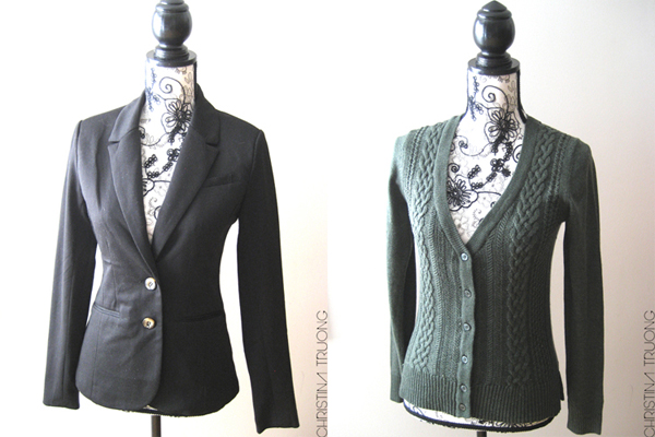 Costa Blanca fashion clothing haul. 2 Button 3 Pocket Black Suit Blazer | V-Neck Cable Front Green Cardigan