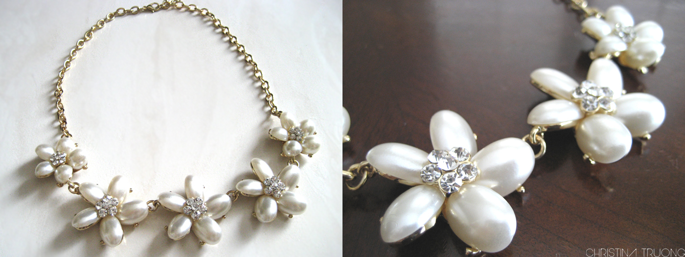 Costa Blanca fashion clothing haul - Floral Pearl Statement Necklace