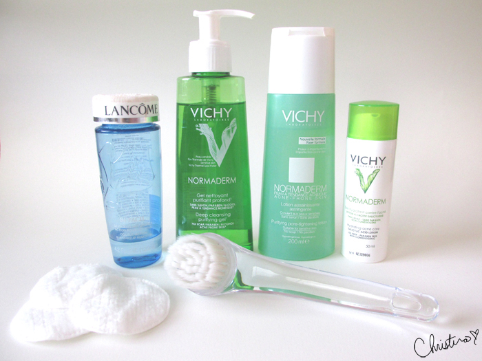 Daily Skin Care Routine Night Lancôme Bi-Facil Double-Action Eye Makeup Remover, Vichy Normaderm Deep Purifying Cleansing Gel, Vichy Normaderm Purifying Astringent Toner, Vichy Normaderm Hydrating Acne Care, Quo Facial Brush, Joe Fresh Cotton Pads