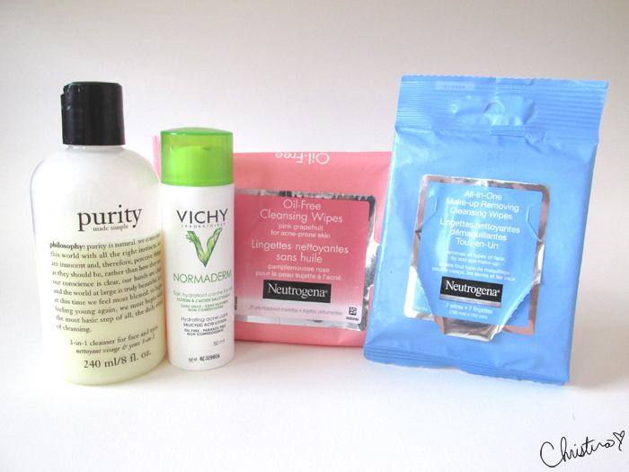 Daily Skin Care Routine Night Quick Fix Routine Philosophy Purity Cleanser, Neutrogena Oil-Free Pink Grapefruit Cleansing Wipes, Neutrogena All-in-One Make-up Removing Cleansing Wipes