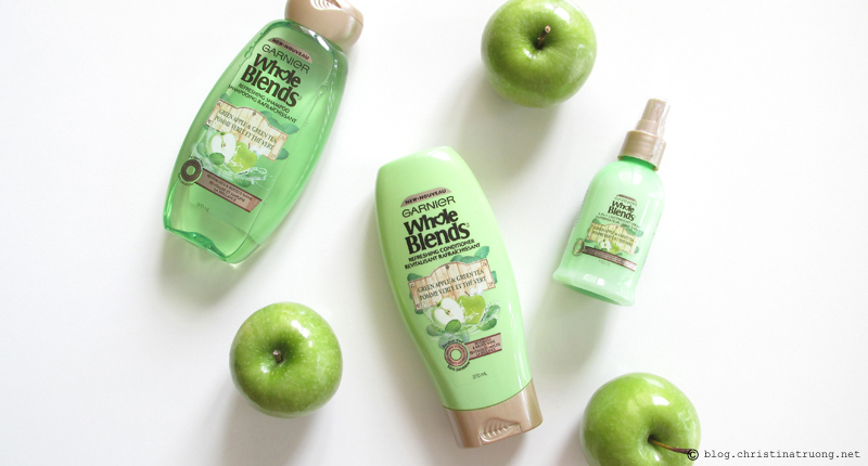 Garnier Whole Blends Refreshing Green Apple and Green Tea Shampoo Conditioner 5 in 1 Lightweight Spray Review