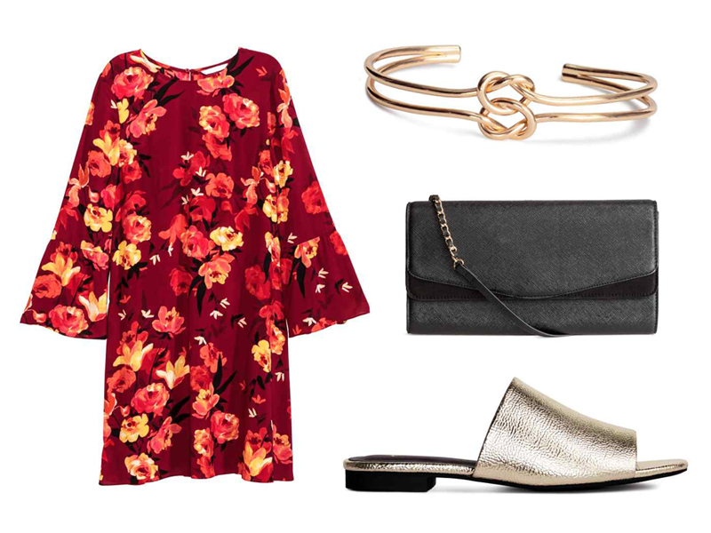 Chinese New Year Style Outfits H&M Dress with Flounced Sleeves, Bangle, Clutch Bag, Peep-Toe Mules