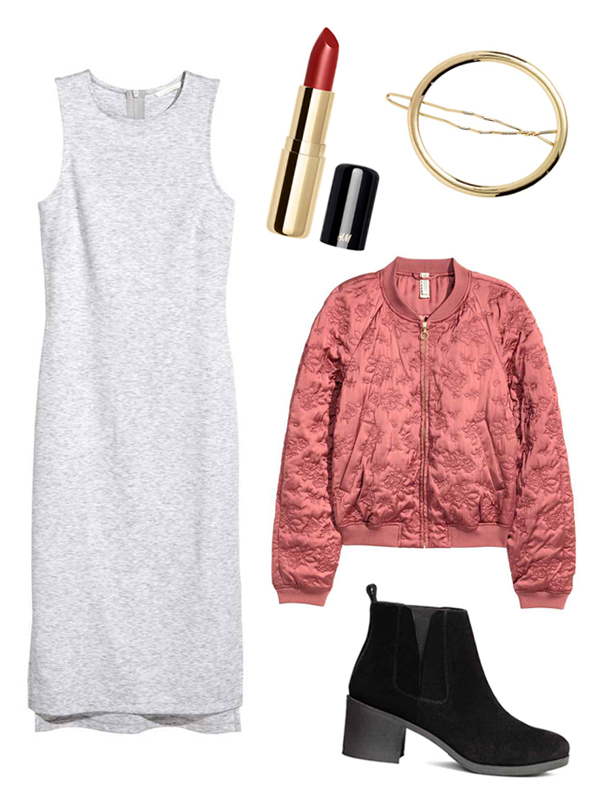 Chinese New Year Style Outfits H&M Calf-Length Jersey Dress, Matte Lipstick in Lenox Lounge, Oval Metal Hair Clip, Quilted Bomber Jacket, Suede Ankle Boots
