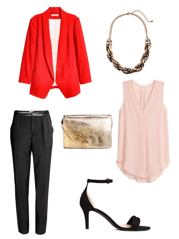 Chinese New Year Style Outfits H&M Shawl-Collar Jacket, Short Metal Necklace, Suit Trousers with Side Stripe, Shoulder Bag, Crêpe Blouse, Sandals