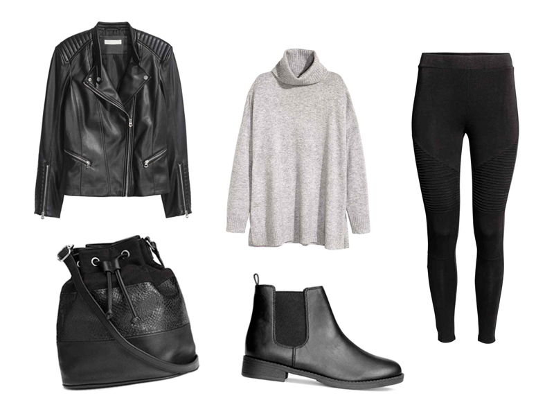 Fall Fashion Favourites H&M Biker Jacket, Cashmere Polo-Neck Jumper, Jersey Biker Leggings, Bucket Bag, Chelsea Boots