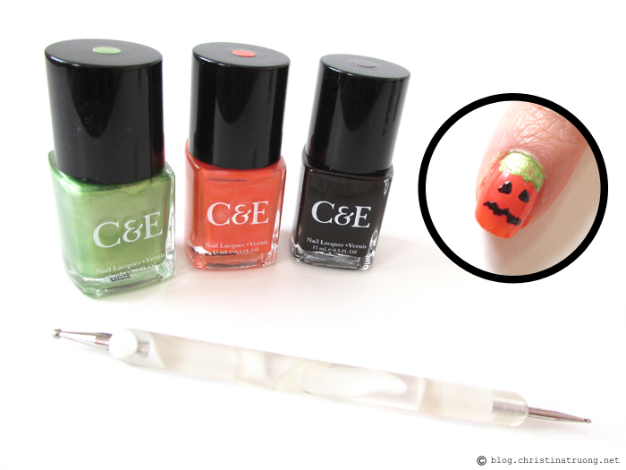 Halloween Inspired Nail Art using Crabtree and Evelyn Nail Lacquer Pumpkin Design