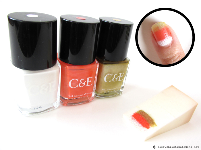 Halloween Inspired Nail Art using Crabtree and Evelyn Nail Lacquer Candy Corn Design