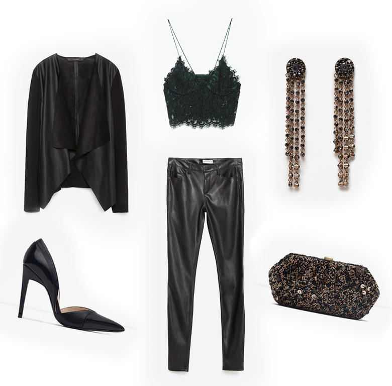 Holiday Fashion Style Outfit Ideas. Holiday Edge - Zara Mixed Fabric Jacket Lace Top Faux Leather Skinny Jeans High Heel D'orsay Shoes Long Jewelled Earrings Beaded Box Clutch