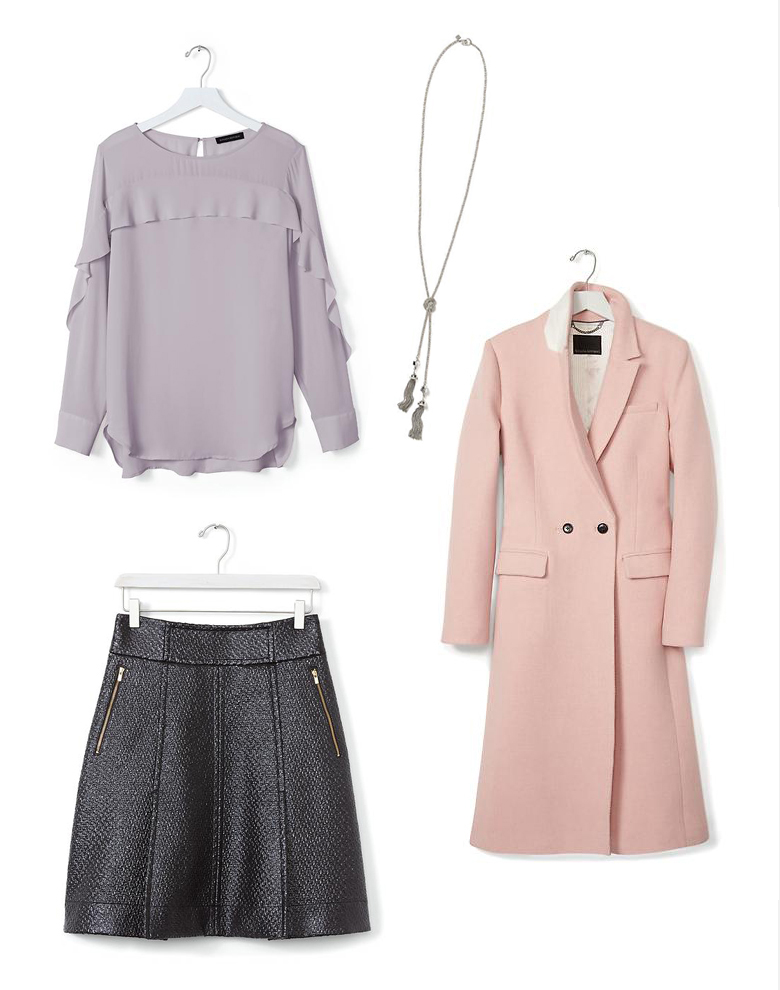 Holiday Fashion Style Outfit Ideas. Party in the Office - Banana Republic Pink Double-Breasted Coat Ruffle-Front Blouse Coated Black Tweed Fit-and-Flare Mini Lariat Tassel Necklace