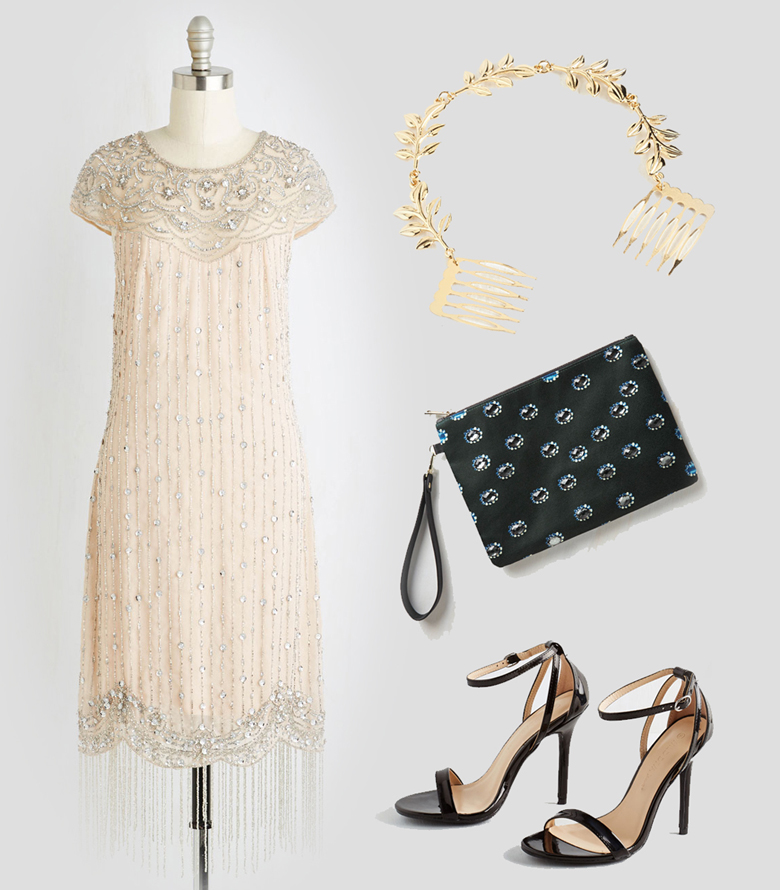Holiday Fashion Style Outfit Ideas. Sparkles of Glitz and Glam - ModCloth I Bead Your Love Dress With Flair to There Hair Comb Tag, You're Glitz Clutch Think Posh-itive Heel in Noir
