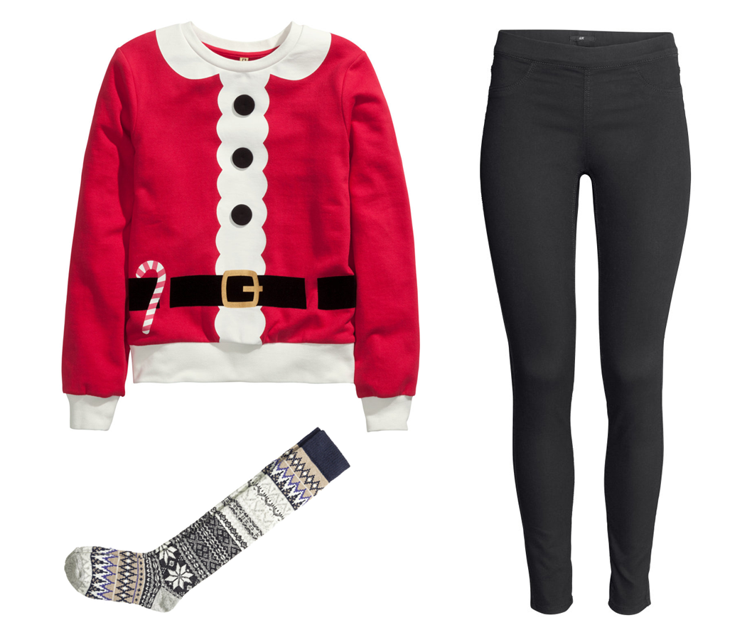 H&M Holiday Outfit Ideas Christmas Santa Sweatshirt with a print, Superstretch treggings in Black, Wool-blend knee socks