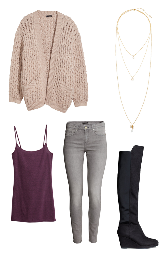 H&M Holiday Outfit Ideas Knitted Cardigan, Long top, Superstretch trousers in Grey, Three-strand necklace, Wedge-heel boots