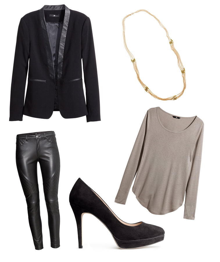 H&M Holiday Outfit Ideas New Years Celebrate Figure-fit jacket, Jersey top, Biker trousers, Multistrand necklace, Platform court shoes