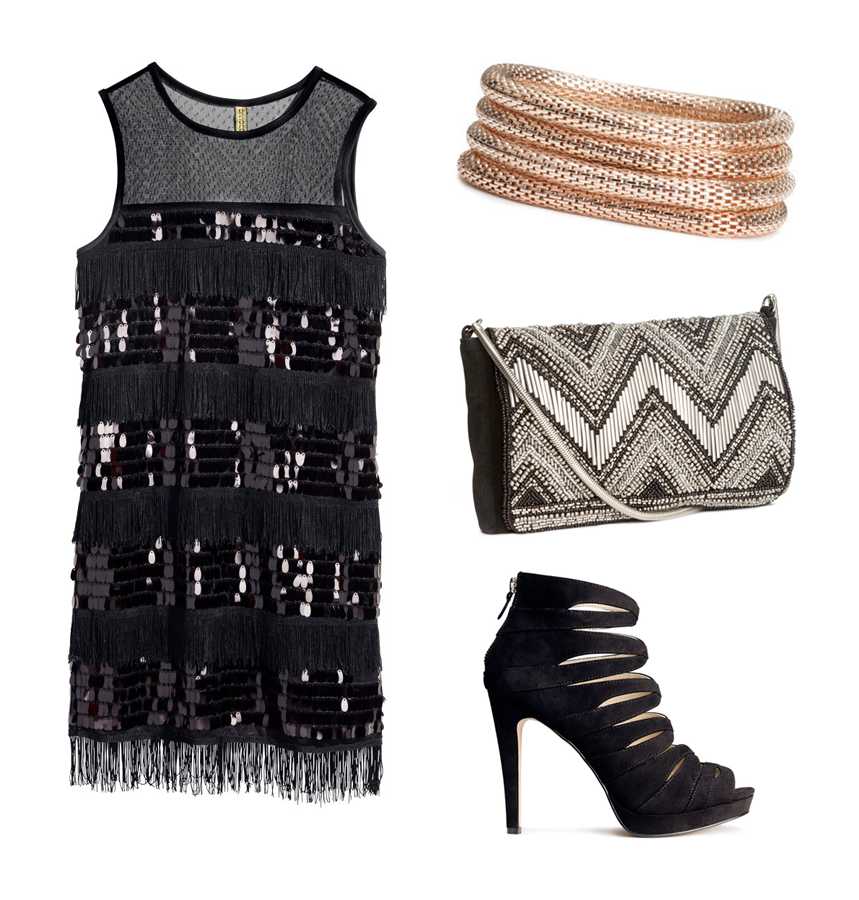 H&M Holiday Outfit Ideas New Years Party Glam Sequined Dress, 4-pack bracelet, Beaded clutch bag, Suede Heels