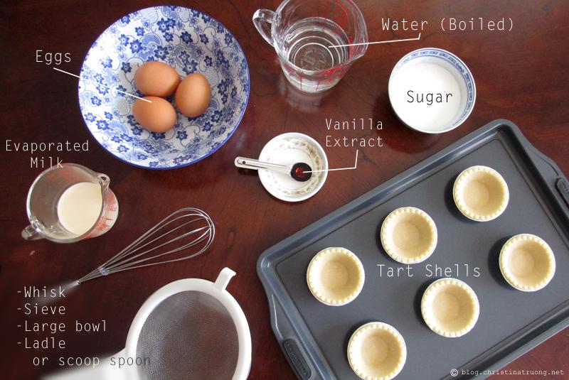 How to Make Homemade Hong Kong Style Egg Tart Dan Tat Recipe Ingredients