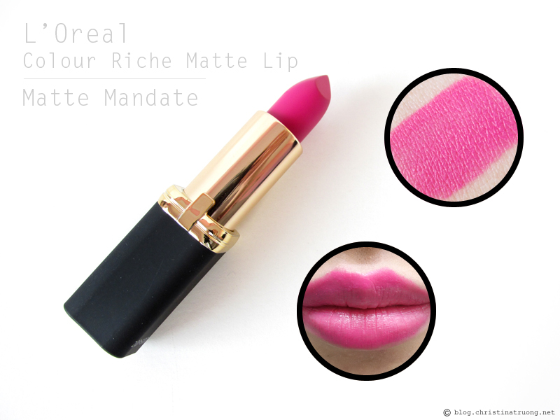 L'Oreal Colour Riche Matte Lipstick. Review and Swatches of 712 Matte Mandate