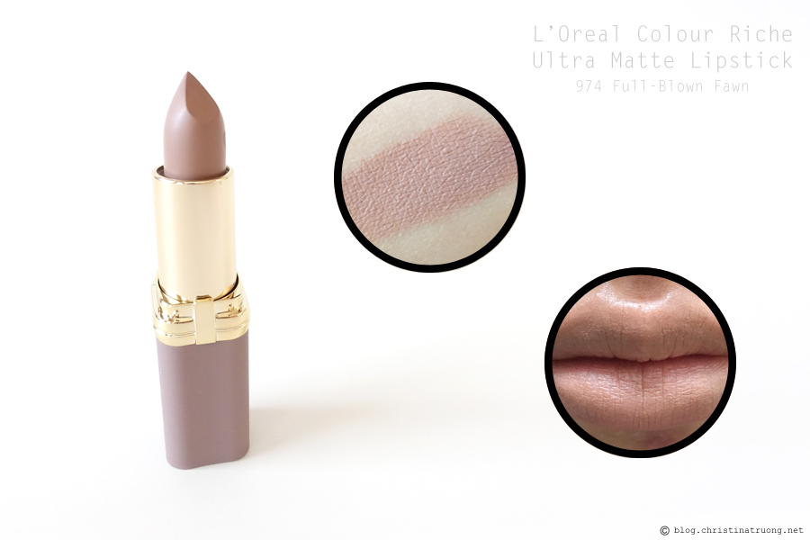 L'Oreal Colour Riche Ultra Matte Lipstick in 974 Full-Blown Fawn Review and Swatch