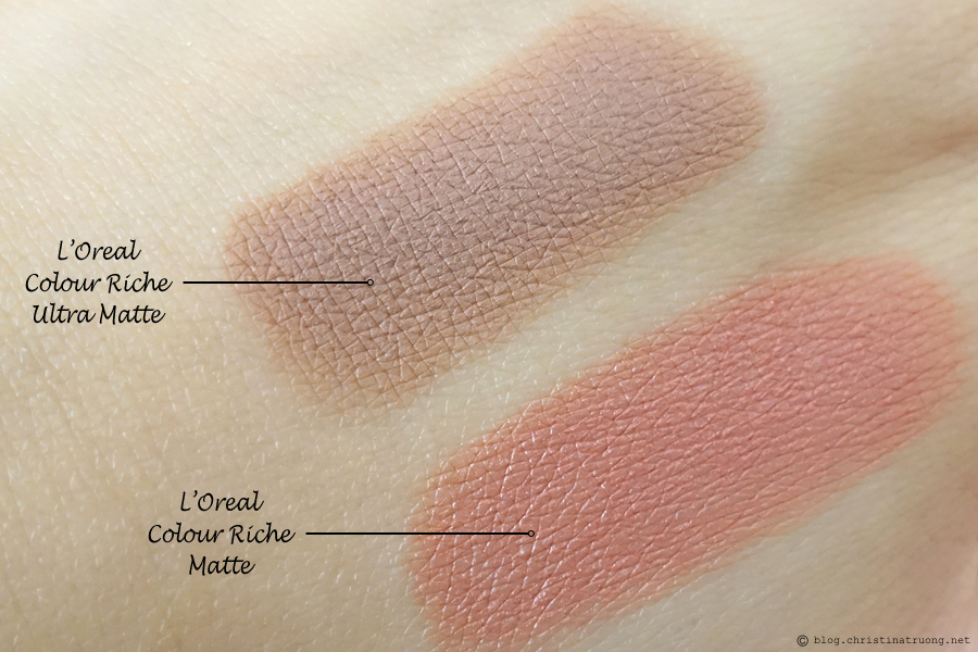 L'Oreal Colour Riche Ultra Matte Lipsticks comparison L'Oreal Colour Riche Matte Lipsticks