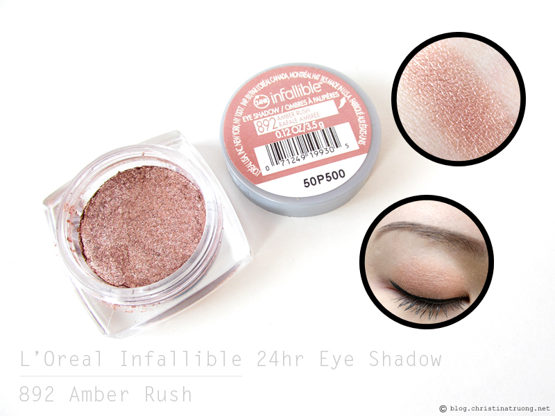 L'Oreal Infallible 24hr Eye Shadow in 892 Amber Rush Review and Swatch