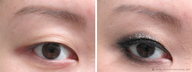 Let Your Eyes Sparkle - Eye makeup for the holidays. How to apply halo smokey eye glitter for Monolid eyes. Before After
