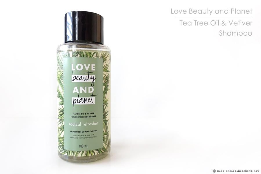 Love Beauty and Planet Tea Tree Oil and Vetiver Collection Review featuring Tea Tree Oil & Vetiver Body Wash, Shampoo, Conditioner.