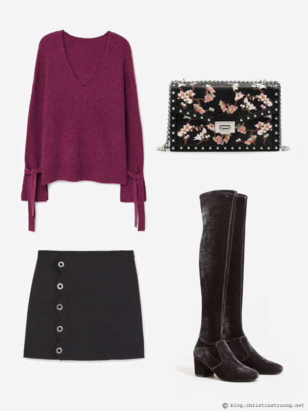 Outfit on a Budget Shop the Sale Winter 2018 outfits for under $200 from MANGO Bow textured sweater. Eyelets skirt. Velvet over-the-knee boots. Floral embroidery bag