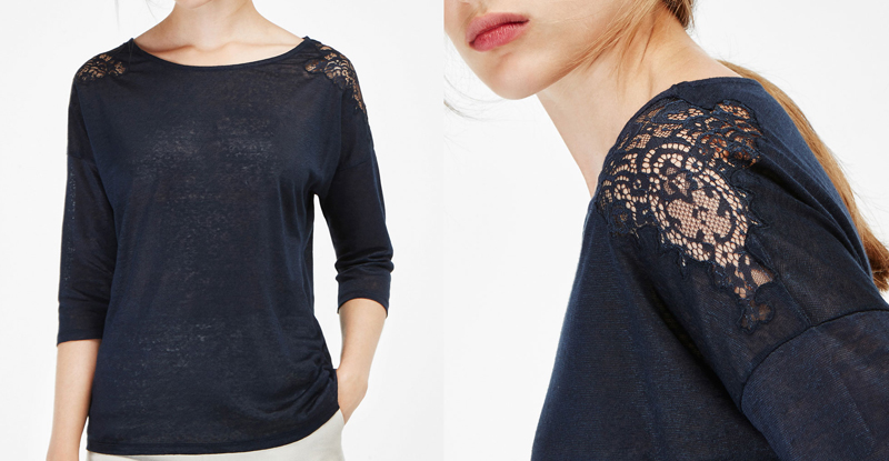 Massimo Dutti T-Shirt with Lace Detail. Favourite off the shoulder fashion style