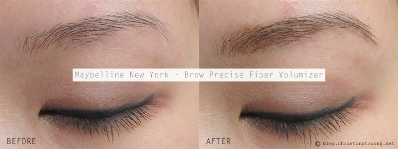 Maybelline New York Brow Precise Fiber Volumizer in Soft Brown Before After Review Swatch