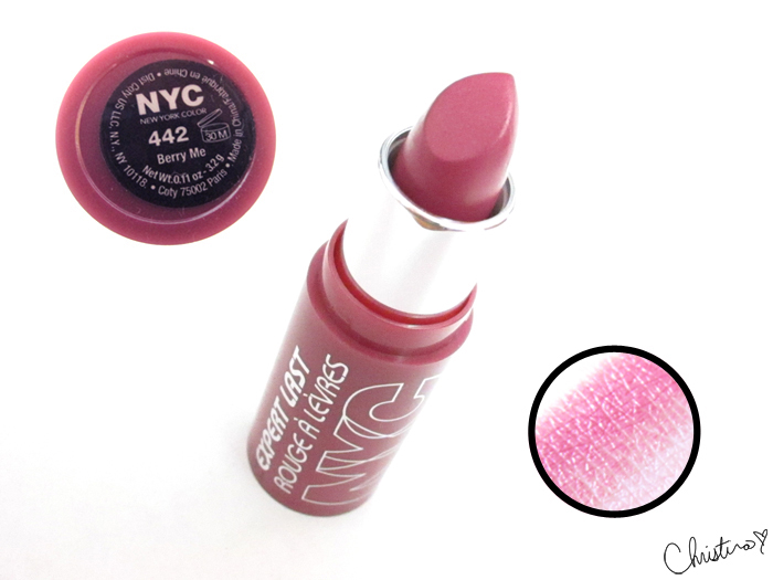 NYC New York Color Expert Last Lipstick Swatch Review 442 Berry Me