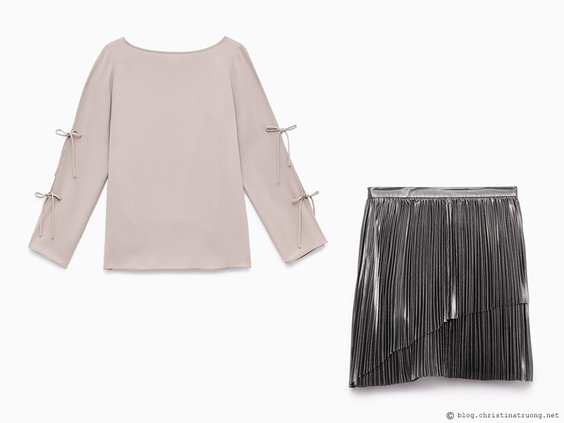 Dressing for the Holidays in the spirit of the New Year featuring ARITZIA WILFRED Wilfred Béthune Skirt in Silver, Wilfred Pozzi Blouse in Lucite