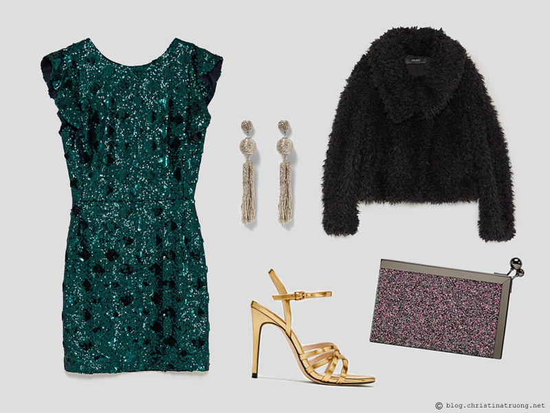 Dressing for the Holidays in the spirit of the New Year featuring ZARA Zara Short Sequin Dress Dark Green, Zara Laminated Strappy Sandals Gold, Zara Textured Jacket with Wraparound Collar Black, Zara Long Fringe Earrings Golden, Zara Sparkly Minaudiere Multicolour