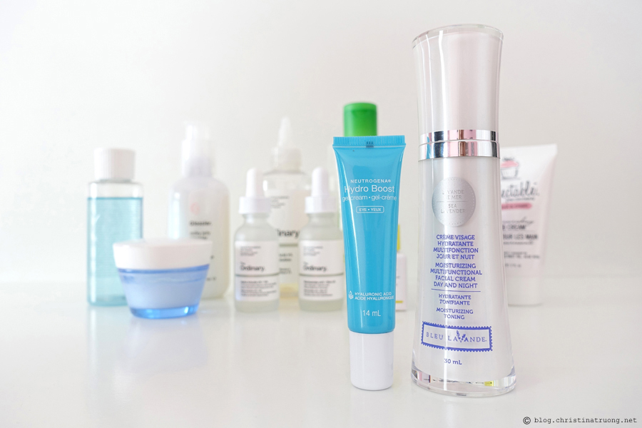 Updated Nightly Skin Care Routine Review featuring Creams and Moisturizers Neutrogena Hydro Boost Eye Gel Cream Bleu Lavande Moisturizing Multifunctional Day and Night Facial Cream