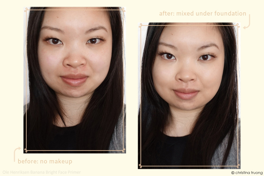 Ole Henriksen Banana Bright Face Primer Review Before After Under Mixed Foundation Highlight #BrightAway #OleGlow